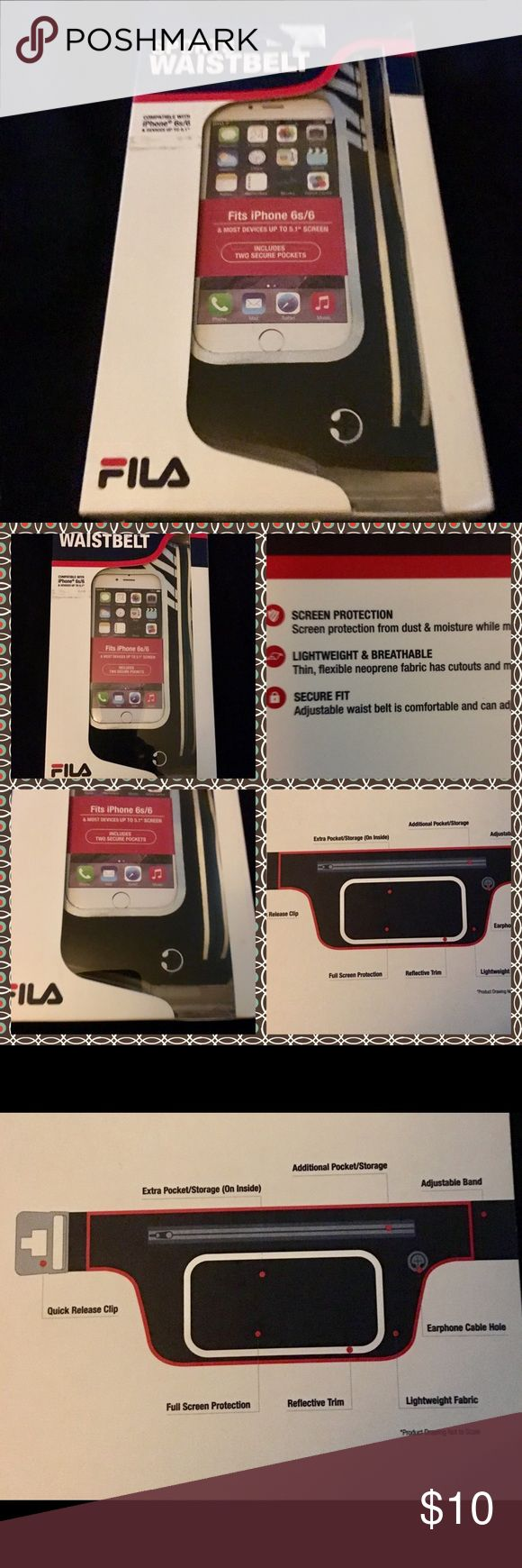 FILA Sports Waistbelt for iPhone 6s Screen Protection, Lightweight & Breathable, Secure Fit, Quick Release Clip, Reflective Trim, NWTB. Fila Accessories Phone Cases