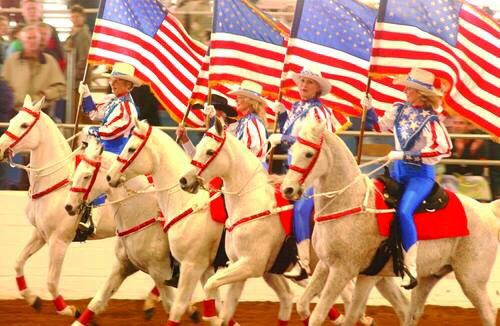 USA American Flags & woman on Horses celebration