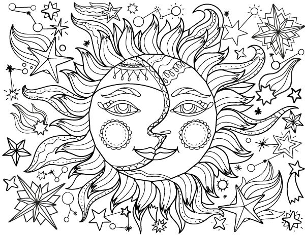 sun and moon adult coloring page - Coloring Pages For Adults Printable