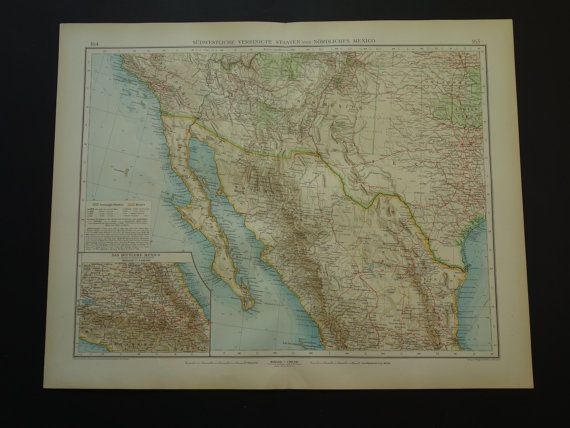 US Mexico map LARGE 1899 original old antique by VintageOldMaps