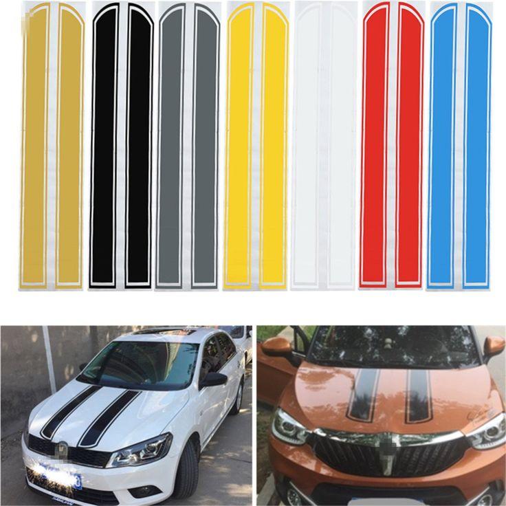 Universal 130 cm x 24 cm Voiture Capot Rayé Autocollants Capot Moteur Style Réfléchissant Decal Bande Vinyle DIY Décoration PVC
