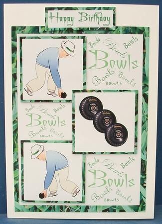 Three squares lawn bowls male birthday on Craftsuprint designed by Carol Dunne - made by Cheryl French - Printed onto matt photo paper. Attached base image to white card stock using ds tape. Built up image with 1mm foam pads. - Now available for download!