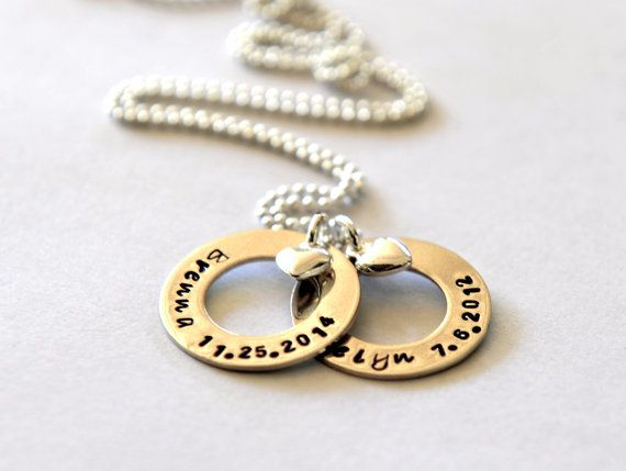 Mothers Day Childrens Names Necklace by SevenBlueberries on Etsy
