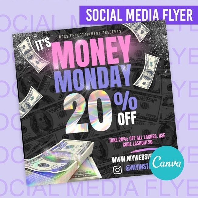 Cute Money Monday Flyer In Canva Change The Words Discount Amount And Colors Business Branding Design Graphic Design Business Business Notes