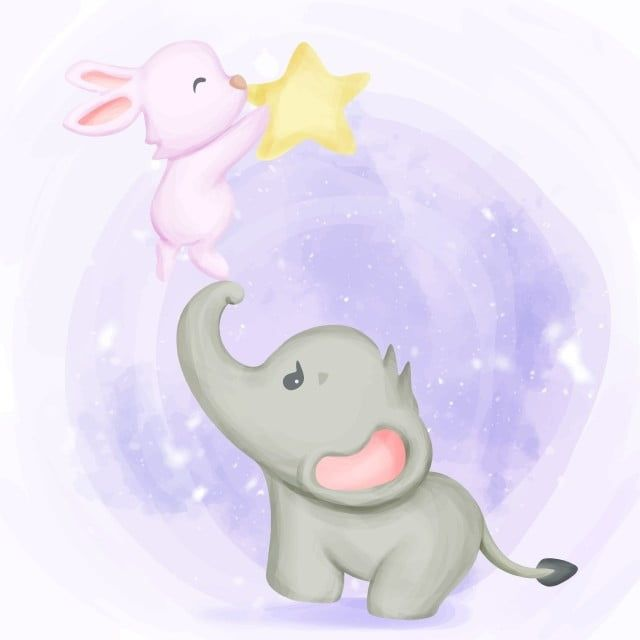 Elephant With Rabbit Playing Star Vector And Png Elefante Disegni A Mano Arte Vettoriale