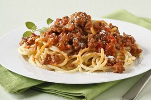 Sauce from a jar? We'd rather make this easy spaghetti recipe with zesty Bolognese from scratch. #Italian