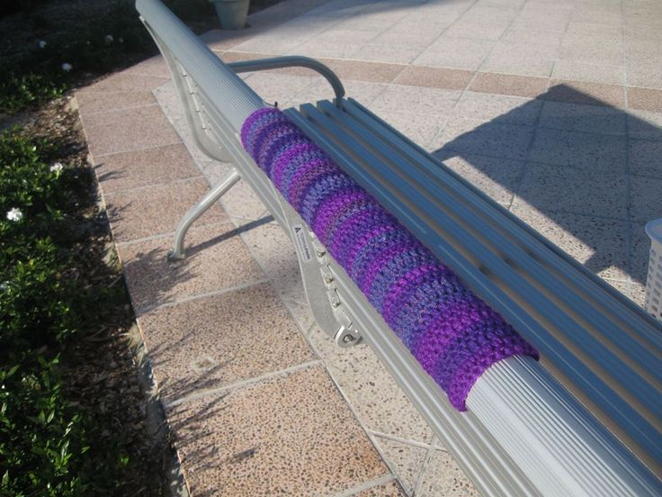 Yarn bombed seat Ballina 2013. One of the many that were stolen in 2013
