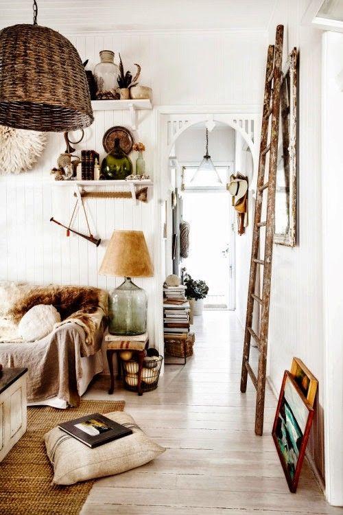 On the blog today - Mood Board: White. #home #house #living #room #lounge #boho #bohemian #ladder #wicker #floorboards #panelling #decor #pendant #light