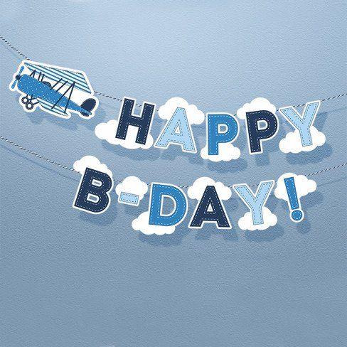 "Banner Happy Birthday ""LITTLE PLANE"" aereo e nuvolette - Baby Party - Party e allestimenti"
