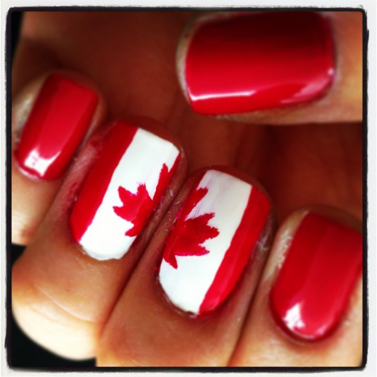 cool Canada Day nails!...