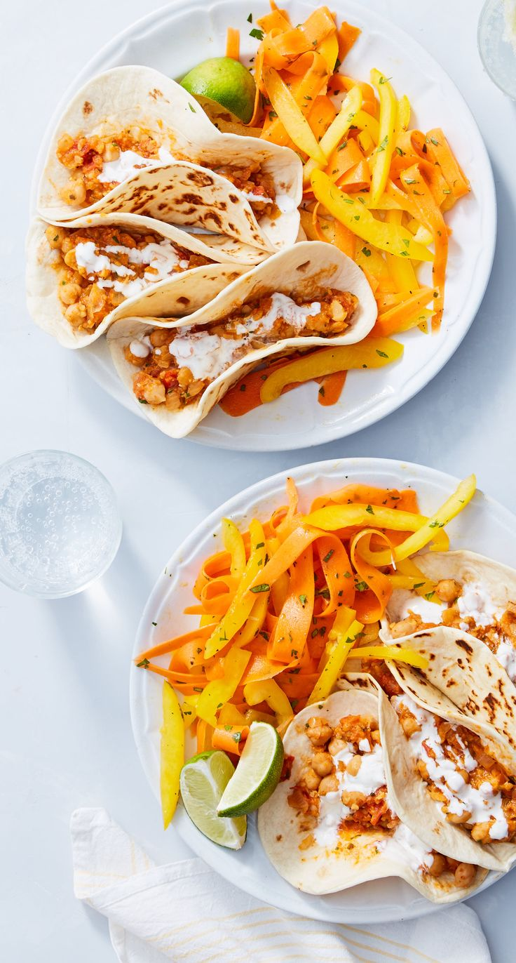Chickpeas replace chicken in this hearty, spicy twist on tacos! The beans are braised with onions, tomatoes, and a Mexican chili mix, then wrapped in flour tortillas for a vegetarian alternative to classic Mexican food. Sign up for Martha & Marley Spoon meal kit deliveries today!