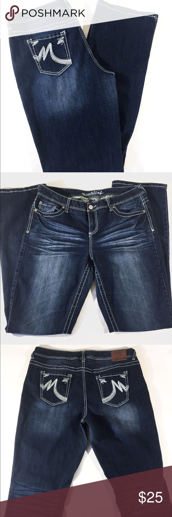 """Maurice's Women's Dark-Wash Jeans Size 13/14 L These are a nice pair of Maurice's Boot-Cut Jeans.  They are a dark wash with detailed stitching.  Size: Women's 13/14 Long They are in Excellent Condition.   They measure approximately:  Waist: 18""""    Inseam: 31 1/2""""     Rise: 91/2""""   They are made with 75% cotton, 25% polyester, 2% spandex. Jeans Boot Cut"""