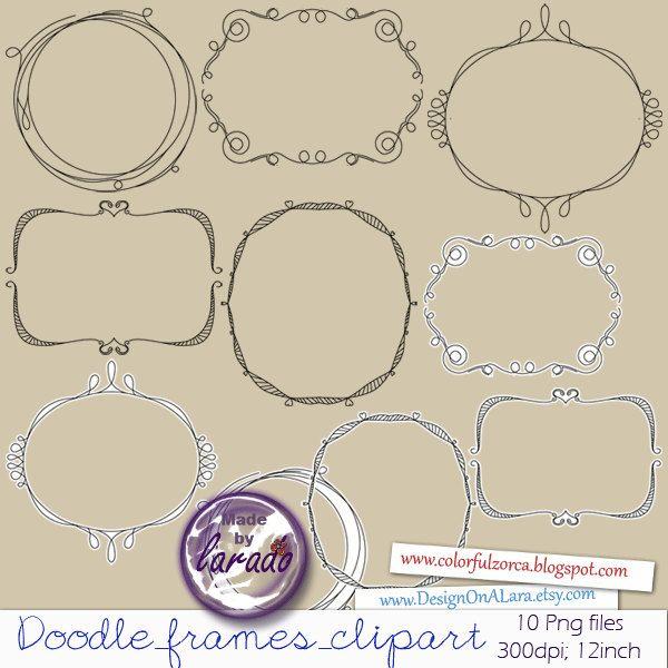 Digital doodle frames, Handsketched doodle frame, Digital Frame, Wedding frames clip art, Digital frames stamps clipart by DesignOnALara on Etsy