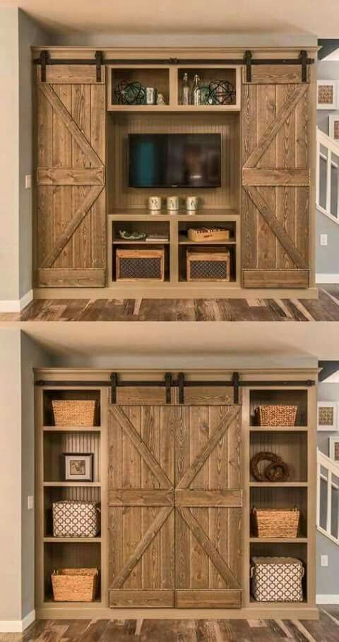 This is a clever idea for an entertainment area! I really like how the TV and other equipment can be covered up when not in use!
