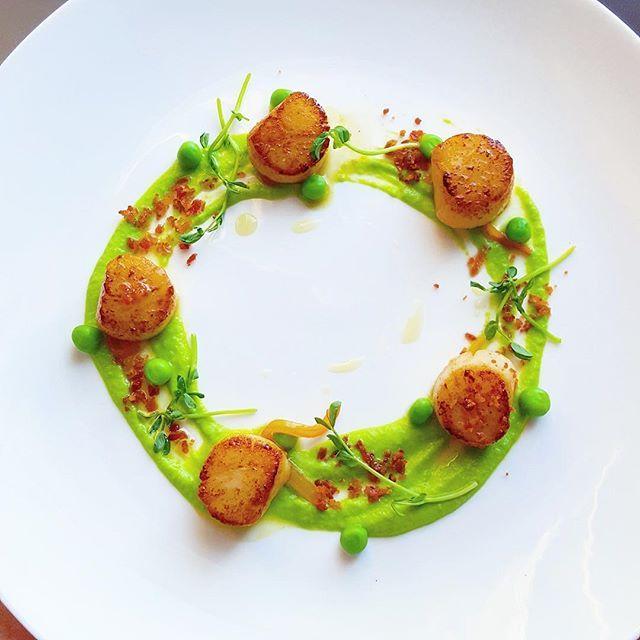 shrimp instead of scallop, mango sauce instead of pea puree, chili threads instead of micro greens