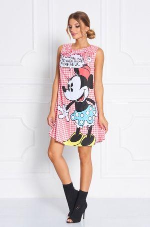 Veselé šaty voľného strihu z Disney kolekcie potlačou Minnie  bez rukávov a zaviazania pri výstrihu na mašľu, zadná časť na zips zapínanie, vhodné na každodenné nosenie či na party.