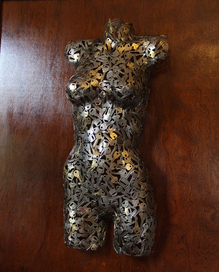 Female Key Torso. Upcycling Keys to make sculptures and Accessories. To see more art and information about Michael Moerkerk click the image.