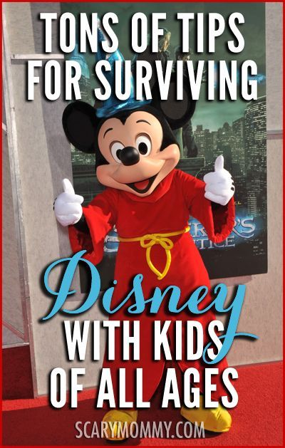 Navigating Disney World or Disneyland with kids can be... a challenge. This collection of tips in the Scary Mommy travel guide will ensure that you leave Disney with kids in one piece.  summer | spring break | family vacation | theme park | parenting advice