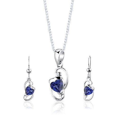 Sterling Silver Rhodium Finish Heart Shape Sapphire Pendant Earrings and 18 inch Necklace Set Peora. Save 68 Off!. $44.99