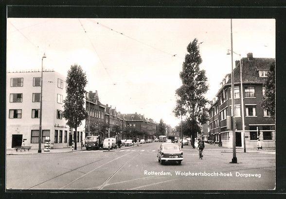 Alte Ansichtskarte: AK Rotterdam, Wolphaertsbocht-hoek Dorpsweg, Radfahrer