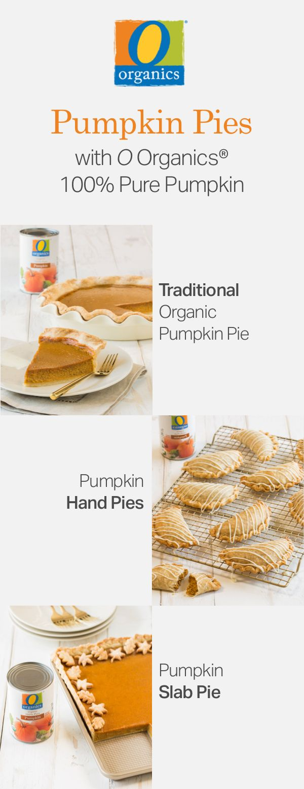 Step up your holiday baking game with these three simple pumpkin pie recipes! From traditional pumpkin pie to hand pies and slab pies, there is something for everyone to enjoy. All three of these festive desserts feature O Organics® 100% Pure Pumpkin, found exclusively at your local Jewel-Osco, and are filled with homemade love and seasonal flavor.