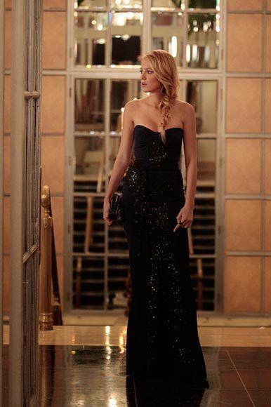 Serena can rock a glittering black column dress.