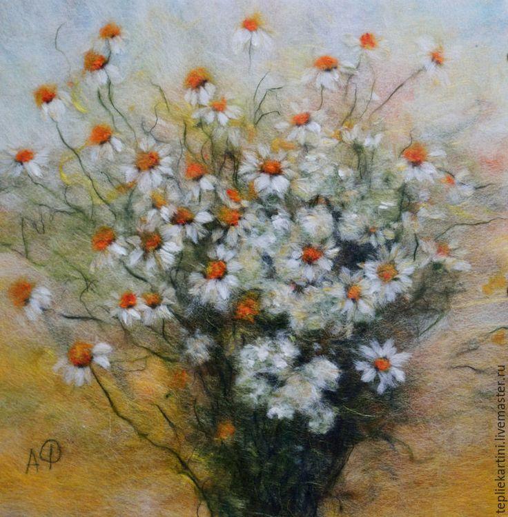 Купить Июльские ромашки, картина шерстью - картина из шерсти, александра фёдорова, живопись шерстью, картина