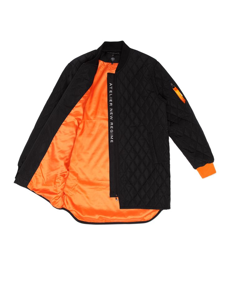 Atelier New Regime Quilted Freezer Coat in black, featuring signature orange contrast lining. #ateliernewregime #newregime #FW16