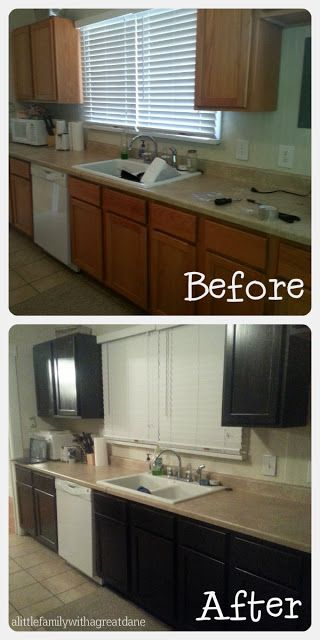 8 best images about kitchen remodel on pinterest oak for Black stained cabinets