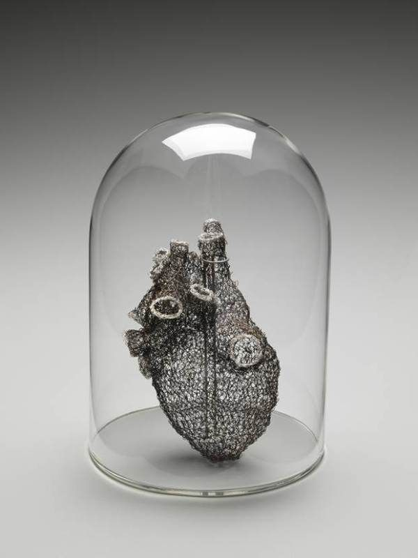 Artist Crochets Anatomically Correct Heart from Wire. The idea of the sculpture is to reflect on the strength and challenges of relationships during times of illness and disease - read more on Make!