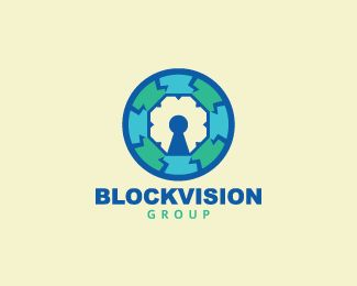 Abstract logo in the shape of an eye together with a padlock with blue and green colors.( logo for sale, exclusive logo, logo design,  block, vision, security, padlock, circle, thorn, spine, spike, eye, lightning).