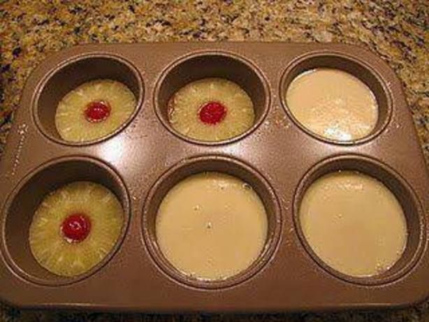 Mini Pineapple Upside Down Cakes Recipe - Not bad, the butter/brown sugar syrup was a bit much, though.  Recipe made 11 regular-sized cupcakes, only enough syrup for 7, but it could probably be stretched out a bit further.