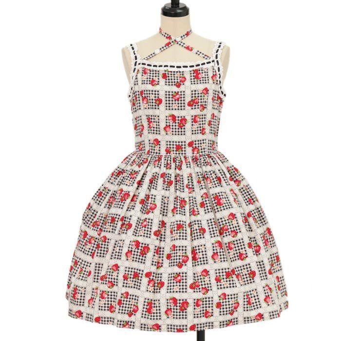 ギンガムレースいちご柄ジャンパースカート   Shirley Temple  https://www.wunderwelt.jp/en/products/w-09315    Worldwide shipping available ♪   How to order ↓  https://www.wunderwelt.jp/en/shopping_guide  * Japanese online shop for second-hand Lolita Fashion *Wunderwelt *