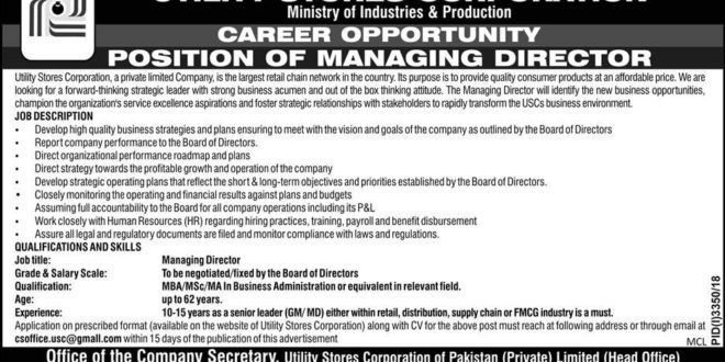 Utility Stores Corporation Managing Director Jobs Career