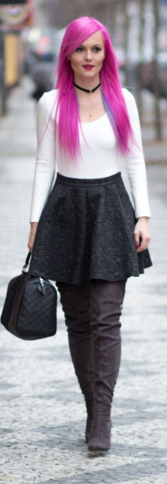 White bodysuit, black skirt, A-line skirt, winter shoes, winter boots, Gucci handbag, pink hair.