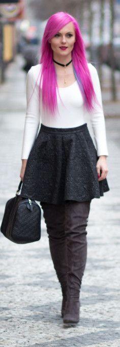 White bodysuit, black skirt, A-line skirt, winter shoes, winter boots, Gucci handbag, pink hair.