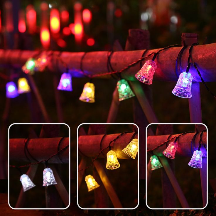 20 led lights strings bell solar christmas string lamp with solar panel waterproof fairy light for outdoor garden home party new