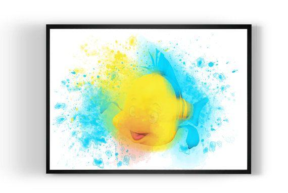 Flounder disney Art Print Art Print Watercolor by MulticolourArt