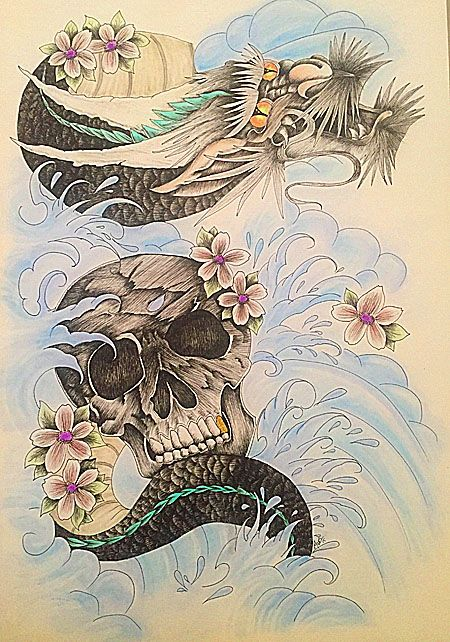 Water Dragon and Skull drawing
