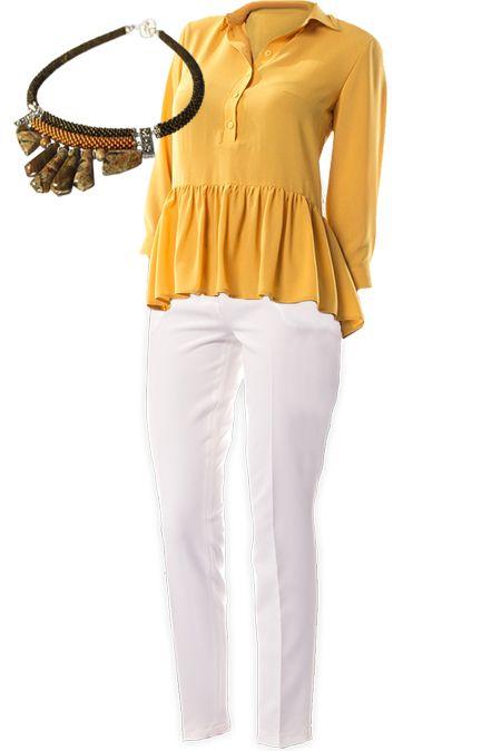 Мини образ с белыми брюками  купить за 1523 грн. в интернет-магазин Stilecity  ✔ Лучшие цены ☆ Создайте свой собственный образ ♡ #Stilecity, новый капсульный гардероб на каждый день. Образ содержит: блуза брюки колье