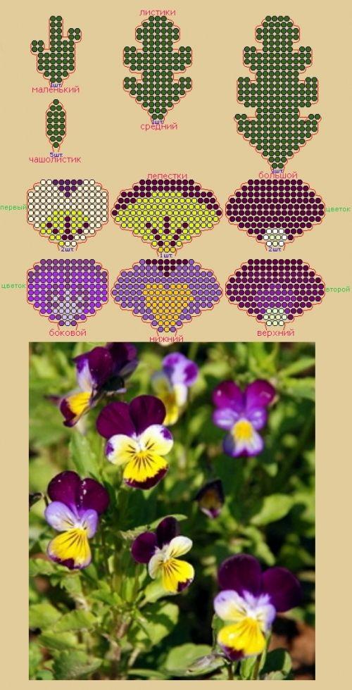 Фотография схемы плетения из бисера - анютины глазки.