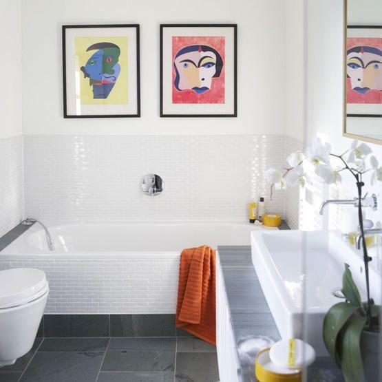 Mini subway tiles on wall and bath