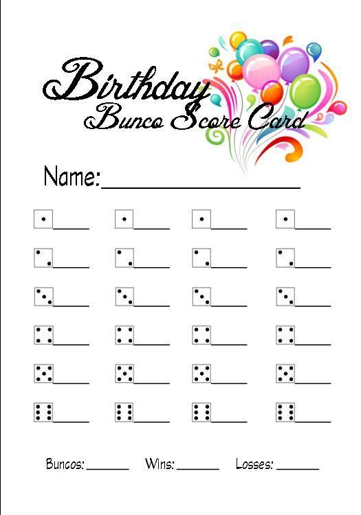 Birthday Bunco Score Card 3x4