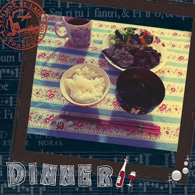 ♡dinner♡ #手料理#料理#ディナー#肉#彩り#サラダ#ごはん#わかめスープ#ごちそうさまでした🙏