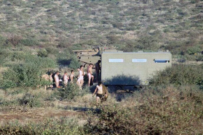 Mobile shower unit. Soap on soap off write.  In on Rhs out on Lhs. A luxury in the bush.