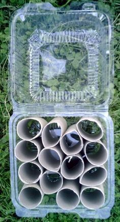 Une mini-serre pour les semis : Encore une idée bricolage à moindre frais et sans se fatiguer ! En plus on recycle des emballages plastiques plutôt que de les jetter!...Agissons pour notre planète... Coût: 0€ Matériel : -des cartons de rouleaux de papier...