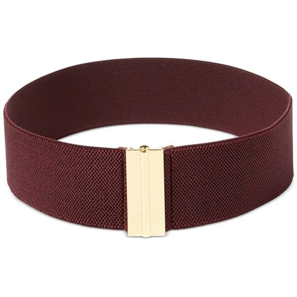 Lauren Ralph Lauren Interlock Stretch Belt ($38) ❤ liked on Polyvore featuring accessories, belts, claret, stretch belt, thick belts, fat belt, wide stretch belt and stretchy belts