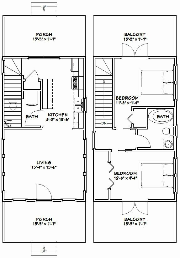 16 X 28 House Plans Fresh 16x28 House 16x28h3b 810 Sq Ft Excellent Floor In 2020 House Plans Small House Plans Tiny Houses Plans With Loft
