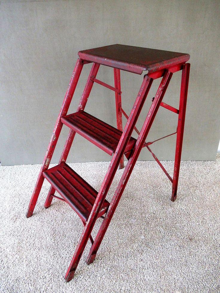 Antique Step Stool Vtg Primitive Folding Metal Ladder Stand Stepstool, Red Paint