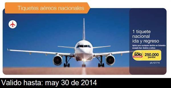 Esto es lo que me gusta de Catálogos Éxito: plu 421716 - 1 tiquete nacional ida y regreso *Aplica para cualquier destino en Colombia excepto San Andrés y Leticia